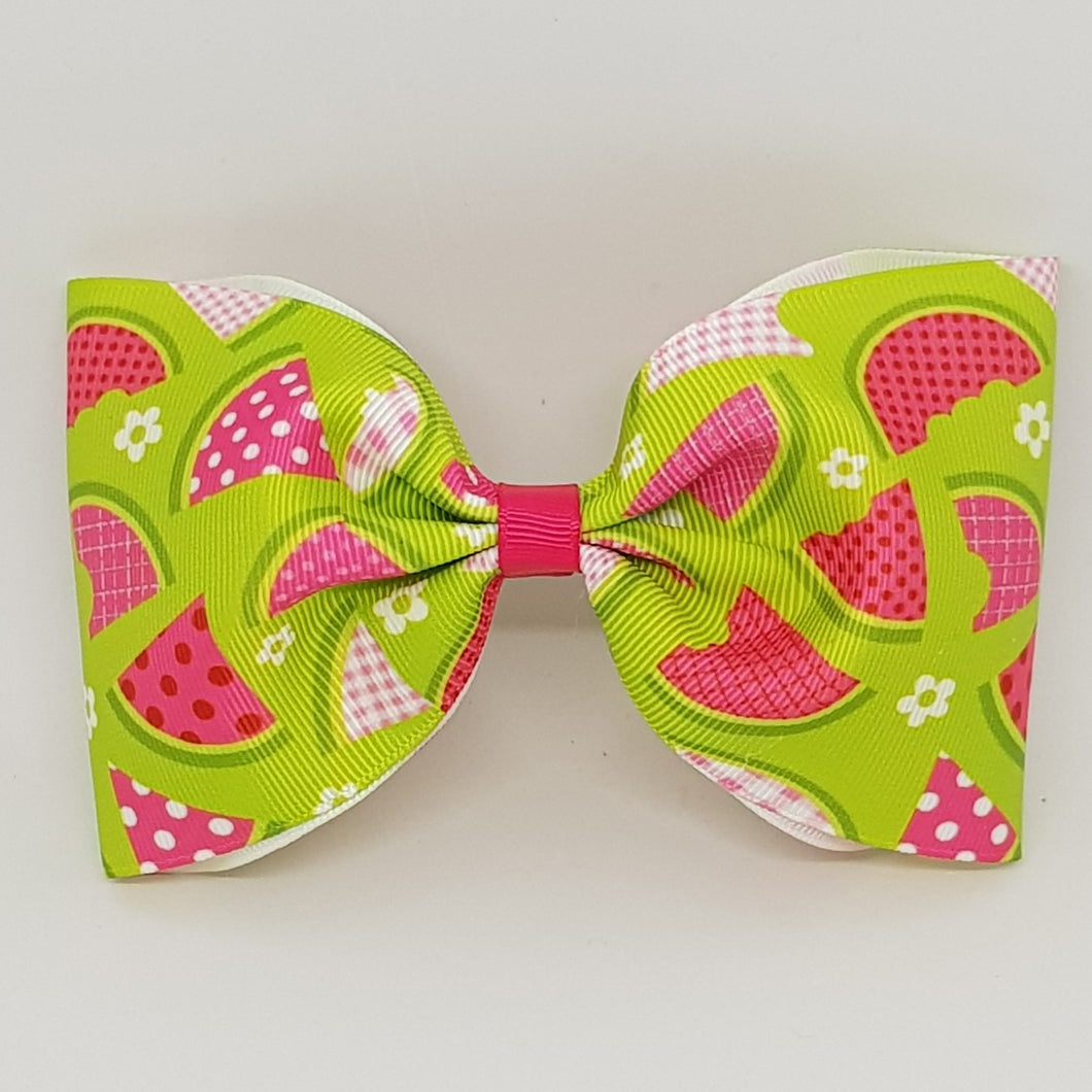 6 Inch Tailless Cheer Bow - Watermelons