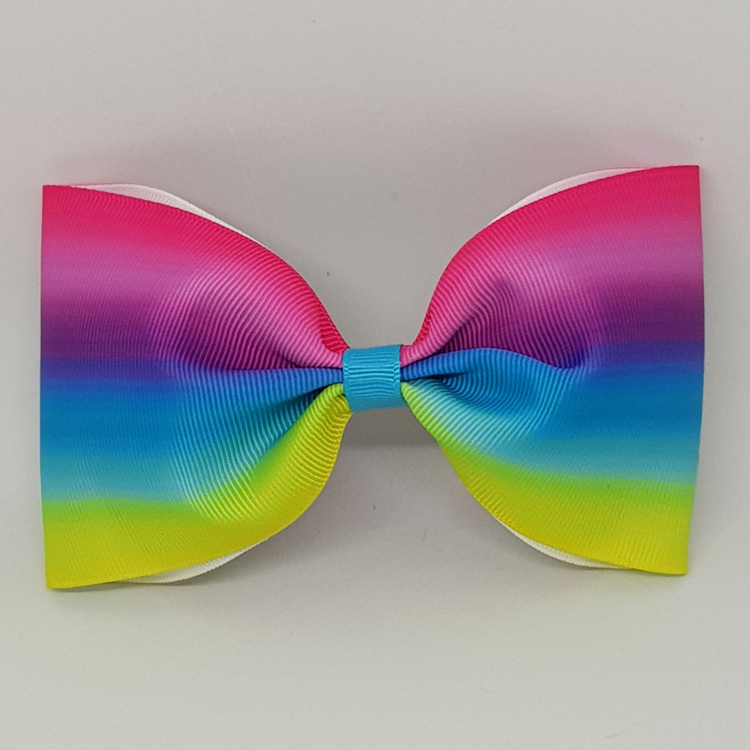 6 Inch Tailless Cheer Bow - Rainbow