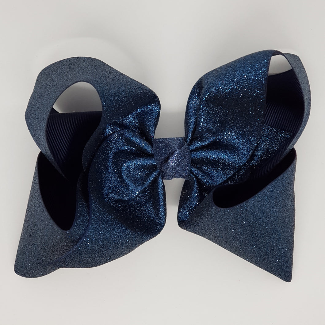 8 Inch Boutique Bow - Sublimated Glitter Navy