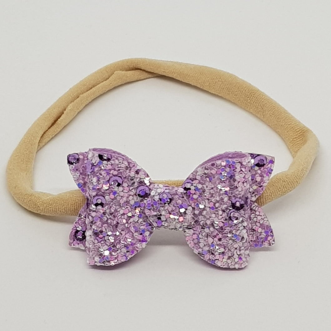 2 Inch Baby Beauty Bow - Light Orchid Sparkle