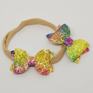 2 Inch Baby Beauty Bow -  Bold Rainbow