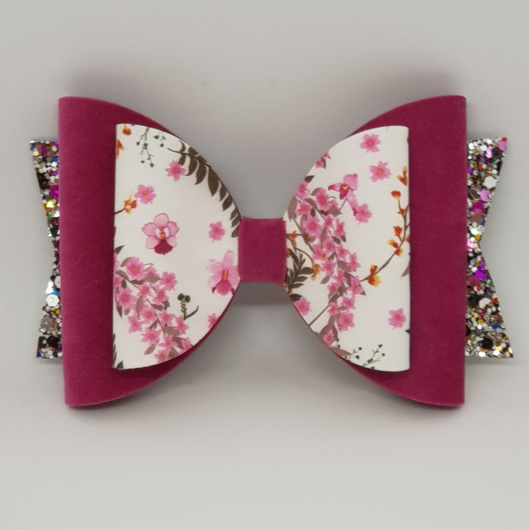 4.3 Inch Natalie Bow - Raspberry Floral with Velvet & Berry Glitters