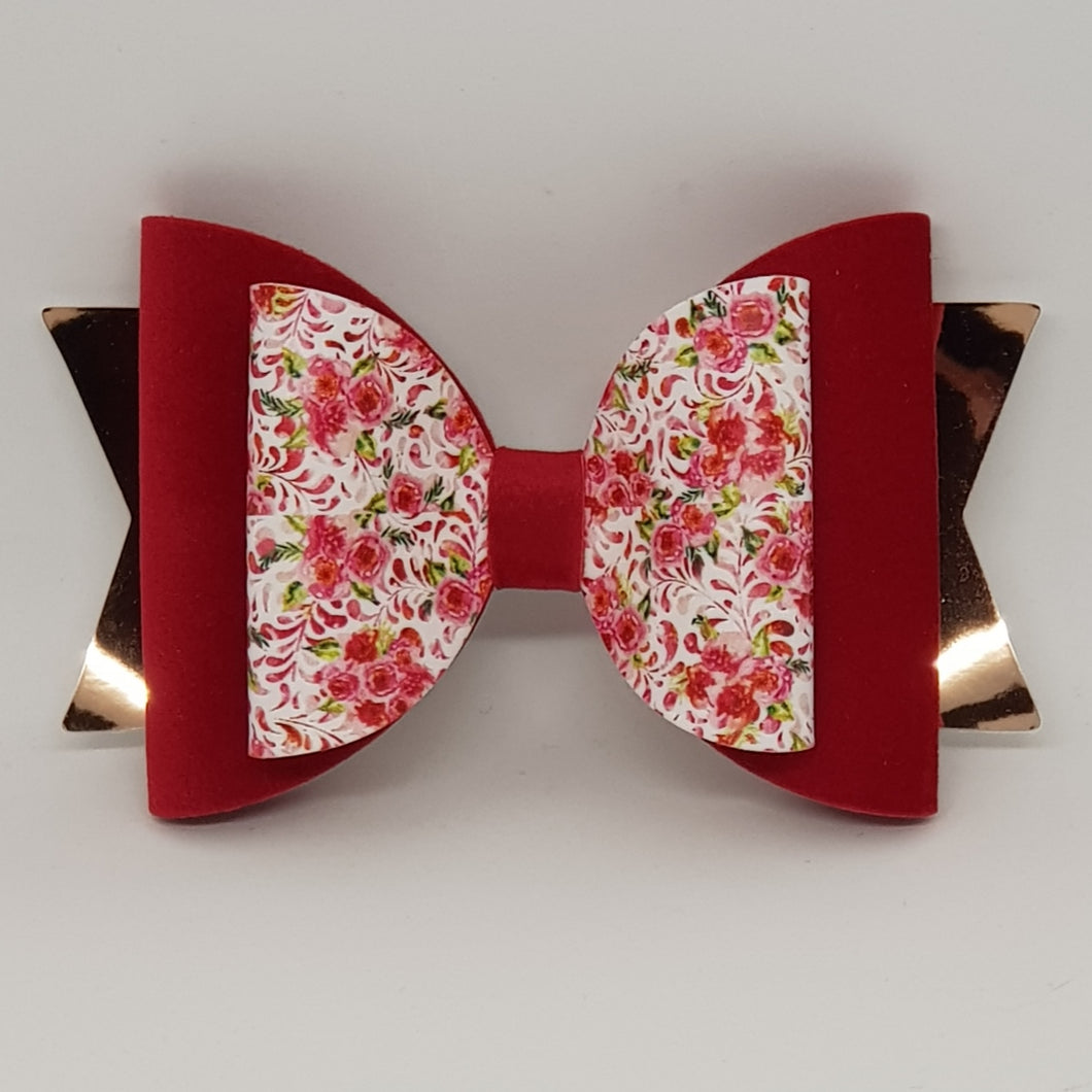 4.3 Inch Natalie Bow - Red Roses with Red Velvet & Rose Gold
