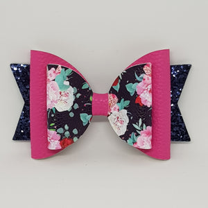 4.3 Inch Natalie Bow - Navy Sweetheart Roses Pink & Navy