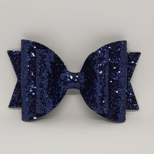 4.3 Inch Natalie Bow - Navy Chunky Glitter