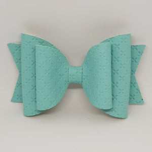 4.3 Inch Natalie Bow - Nile Blue Embossed Cross Stitch