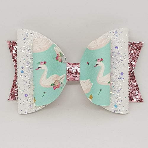 4.3 Inch Natalie Bow - Floral Swans