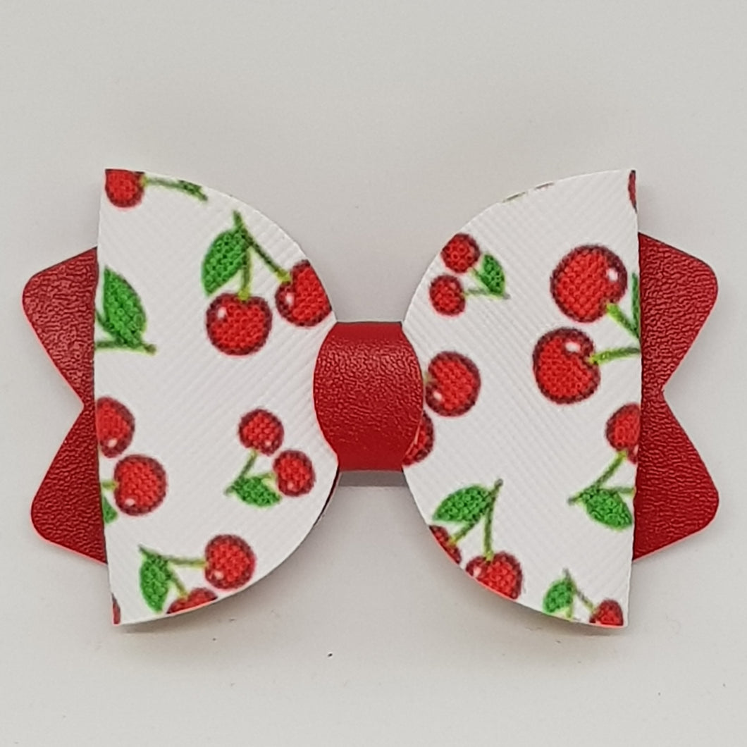 4.25 Inch Ava Leatherette Bow - Cherry