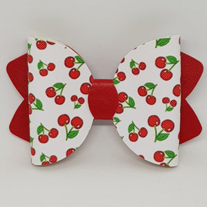 2.5 Inch Ava Leatherette Bow - Cherry