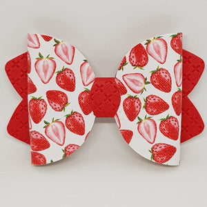 4.25 Inch Ava Leatherette Bow - Strawberry