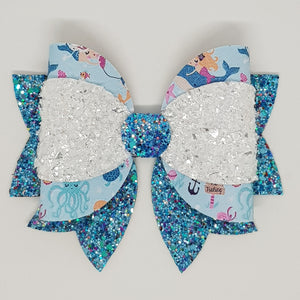 4.75 Inch Maddi Leatherette & Glitter Bow - Mermaid Royalty