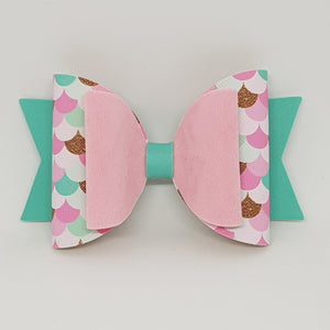 4.3 Inch Natalie Leatherette Bow - Pretty in Pinks Mermaid