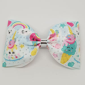 6 Inch Tailless Cheer Bow - Kawaii Unicorn Party – Silver Glitter Dots