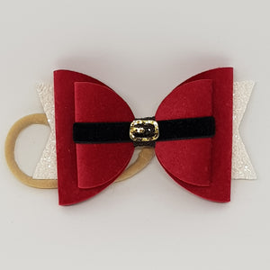 4.3 Inch Natalie Bow - Santa Clause Belt