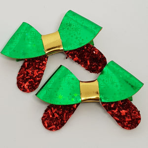 2.5 Inch Penny Bow Set of 2 - Green Stars & Red Tinsel