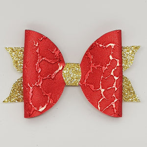 4 Inch Mackenzie Leatherette Bow - Red Gift Wrap