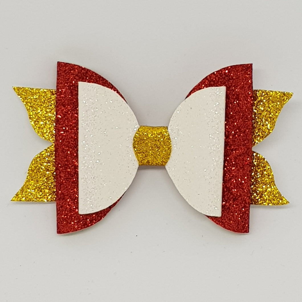 4 Inch Mackenzie Double Bow - Red, White & Gold