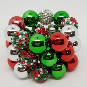 Bubblegum Bling Bracelet - Christmas Red, Silver & Green