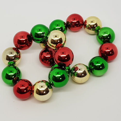 Bubblegum Bling Bracelet - Christmas Red, Green & Gold