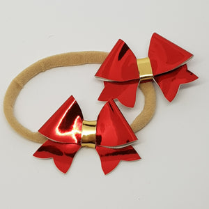 2.25 Inch Baby Leatherette Bow - Red & Gold