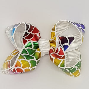 2.5 Inch Boutique Bow - Rainbow Foil Mermaid Scales