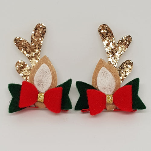 Baby Christmas Reindeer Ears Hair Clip Set