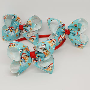 4 Inch Boutique Bow - Bluey Christmas
