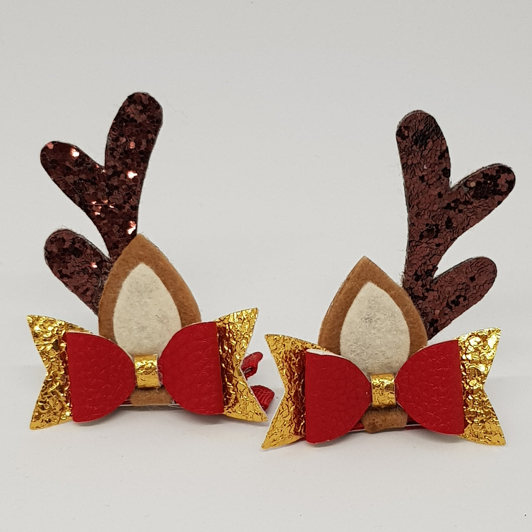 Baby Christmas Reindeer Ears Hair Clip Set - Red & Gold Leatherette