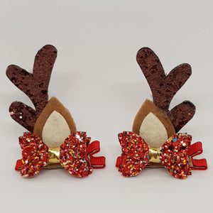 Baby Christmas Reindeer Ears Hair Clip Set - Christmas Cheer Glitter