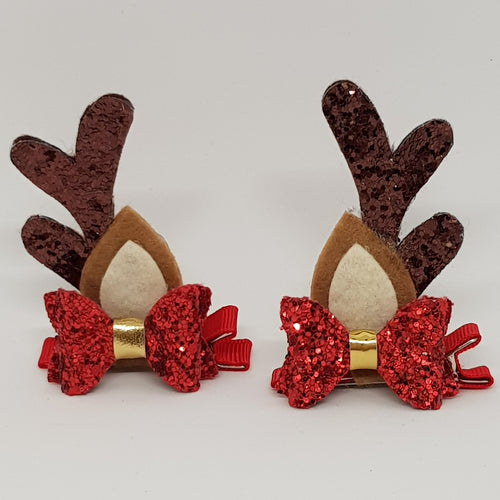 Baby Christmas Reindeer Ears Hair Clip Set - Red & Gold Glitter