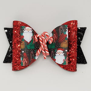 4.3 Inch Deluxe Natalie Bow - Santa with Candy Canes