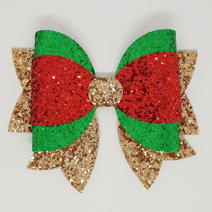 4.75 Inch Maddi Leatherette & Glitter Bow - Red, Green & Gold