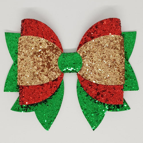 4.75 Inch Maddi Leatherette & Glitter Bow - Gold, Red & Green