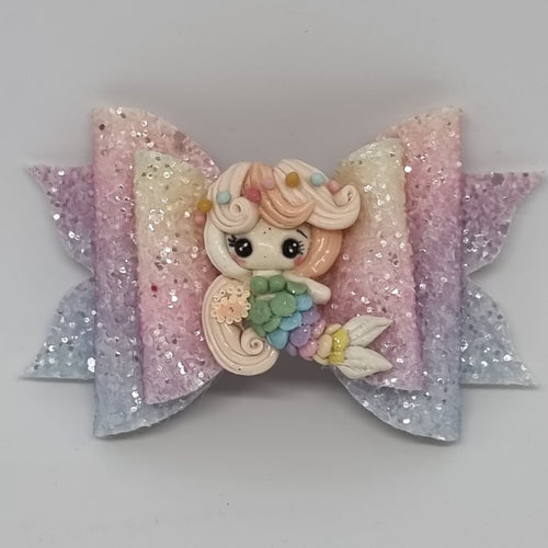 4.3 Inch Deluxe Natalie Bow - Rainbow Mermaid