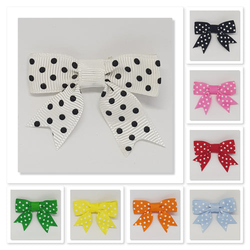 2 Inch Hair Bows with Tails - Spots