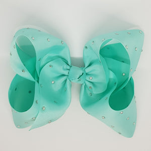 8 Inch Boutique Bow with Bling - Lined Clips