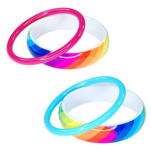 Rainbow & Solid Colour Bangle set of 2