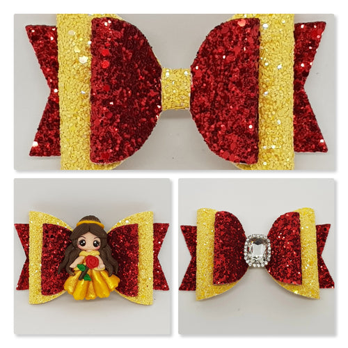 4.3 Inch Natalie Deluxe Double Leatherette Bow - Belle Inspired