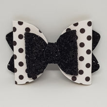 4.25 Inch Ava Leatherette Bow - Black Spots on White with Black Chunky Glitter