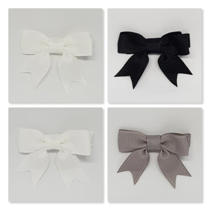2 Inch Hair Bows with Tails - Black to White