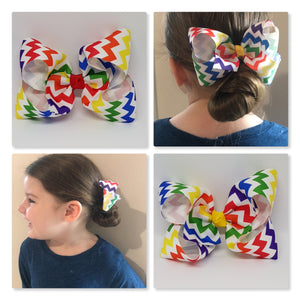4 Inch Boutique Bow - Chevron