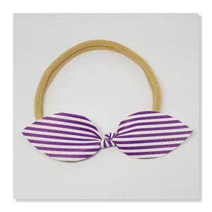 Faux Leather Top Knot Headband - Candy Stripes