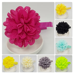 1/2 Inch Wrapped Headbands - Large Eyelet Chiffon Flowers