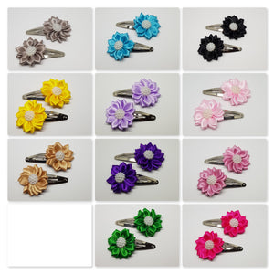 5 cm Snap Clips - Satin Flowers