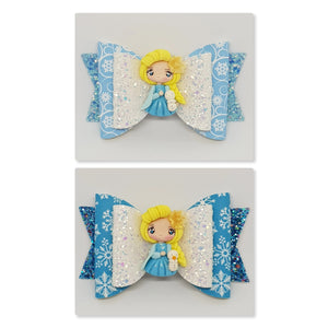 4.3 Inch Natalie Deluxe Double Leatherette Bow - Elsa Inspired with Yellow Rose