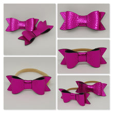 2.75 Inch Ivy Metallic Textured Leatherette Bow - Fuchsia