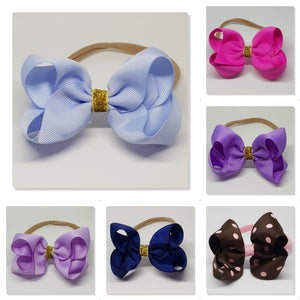 4 Inch Boutique Bow on Nylon Headband