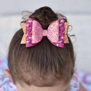 4.3 Inch Natalie Double Leatherette Bow - Bright Petite Blooms