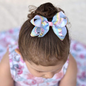 4 Inch Boutique Bow - Silver Foil Chevron, Spots & Stripes