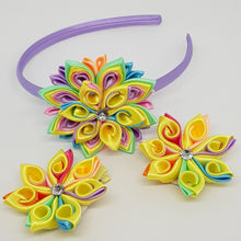 Kanzashi Flowers - Yellow Rainbow Swirl